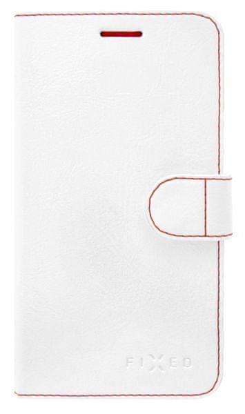 Fixed flipové pouzdro FIT, Apple iPhone 5/5S/SE, bílá, červené prošití