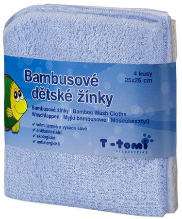 T-tomi bambusova brisača za umivanje, 4 kosi, modra