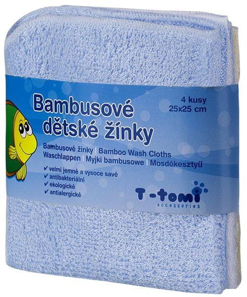 T-tomi Bambusové koupací žínky, 4ks modrá + dárek
