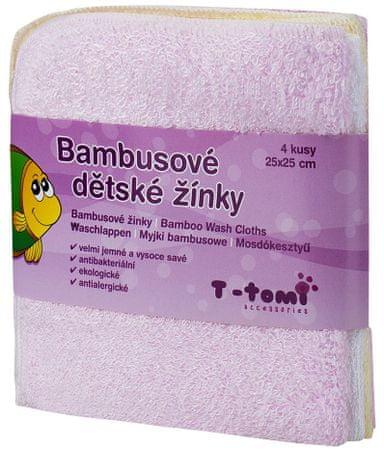 T-tomi bambusova brisača za umivanje, 4 kosi, roza