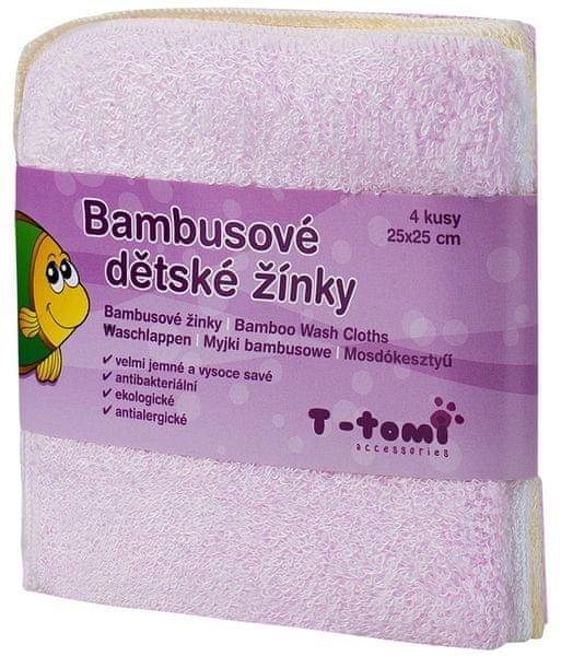 T-tomi Bambusové koupací žínky, 4ks růžová