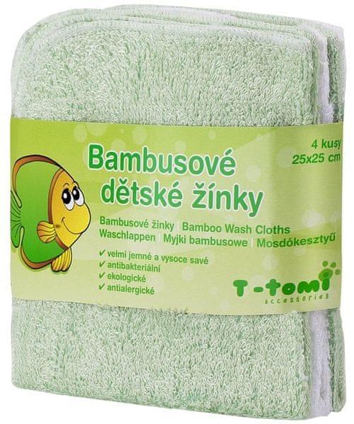 T-tomi Bambusové koupací žínky, 4ks zelená