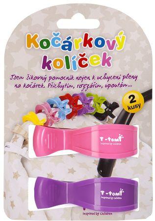 T-tomi ščipalka za otroški voziček, roza + vijolična