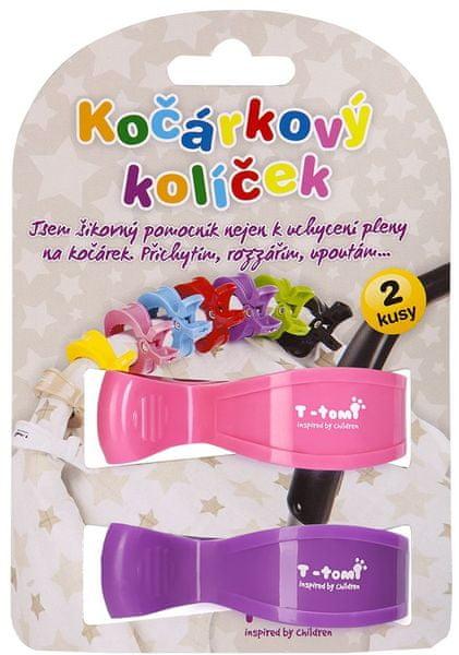 T-tomi Kočárkový kolíček, růžový+fialový