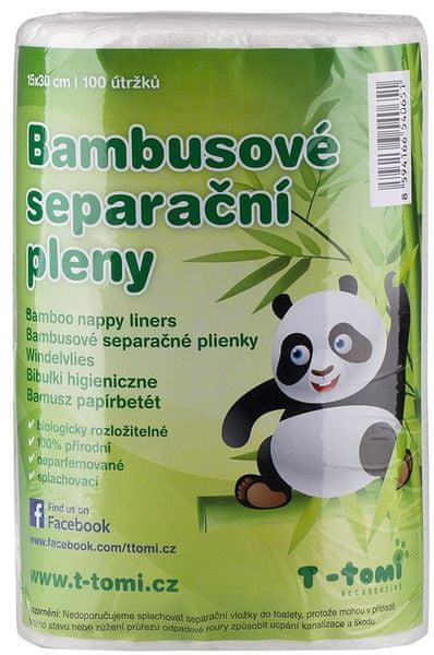 T-tomi Bambusové separační pleny, 2 × 100 kusů + dárek