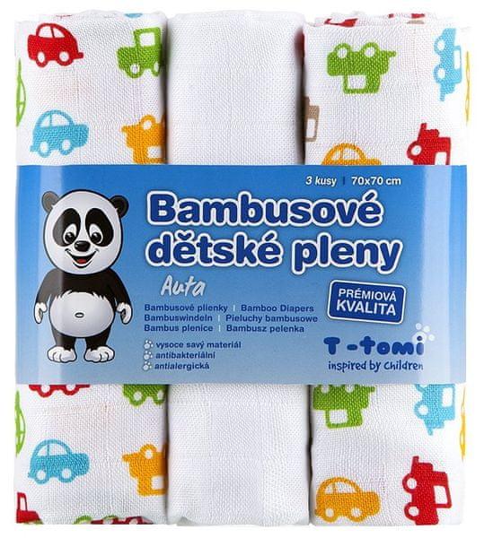 T-tomi Bambusové pleny, sada 3 kusů, Auta + dárek