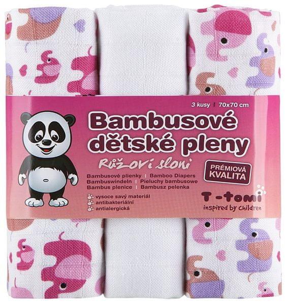 T-tomi Bambusové pleny, sada 3 kusů, Růžoví sloni + dárek