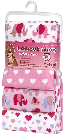 T-tomi tetra plenice, 4 kosi, roza sloni