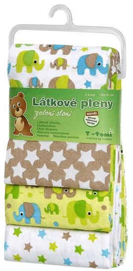 T-tomi Látkové plienky 4 ks, zelení slony