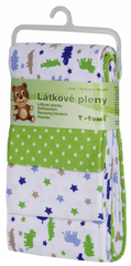 T-tomi Pieluszki flanelowe (4 szt.), Zielone krokodyle