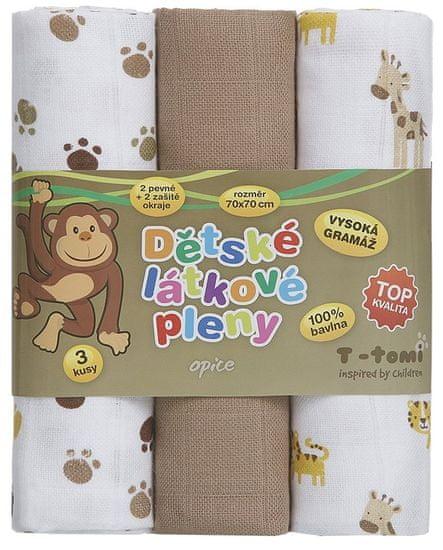 T-Tomi Tetra pleny - Top kvalita, sada 3 kusů, opice