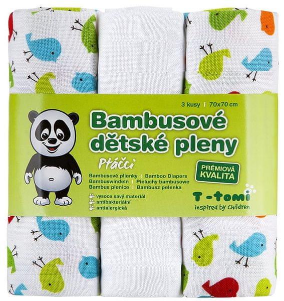 T-tomi Bambusové pleny, sada 3 kusů, Ptáčci + dárek