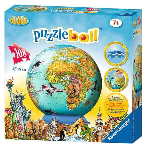 Ravensburger Dětská mapa světa Puzzleball 108 dílků