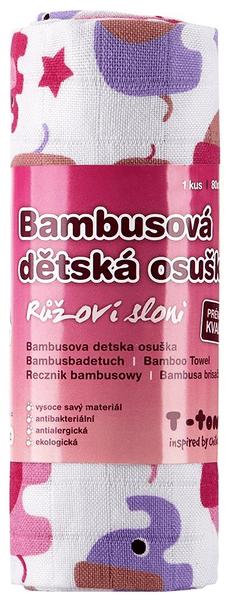 T-tomi Bambusová osuška, 1 kus, Růžoví sloni