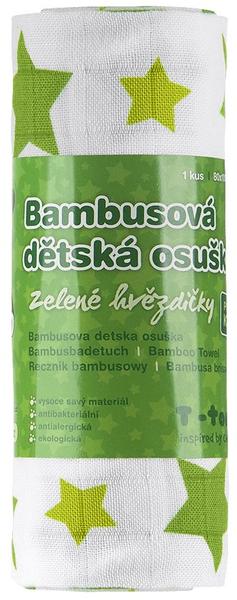T-tomi Bambusová osuška, 1 kus, Zelené hvězdičky