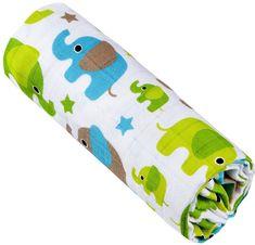 T-tomi Ręcznik bambusowy, zielone słonie