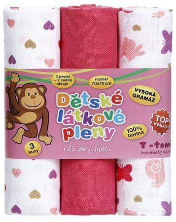 T-tomi Pieluchy tetrowe - Super jakość, zestaw 3 sztuk, różowe ślimaczki
