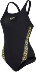 Speedo ženske kopalke Monogram Muscleback, črne
