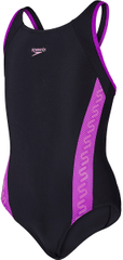 Speedo otroške kopalke Monogram Muscleback, črne/vijolične