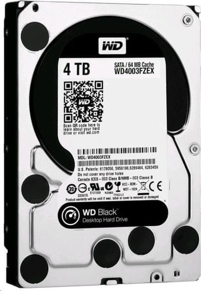 """WD Black 4TB / Interní / SATAIII/600 / 3,5"""" / 7200rpm / 128MB (WD4004FZWX)"""