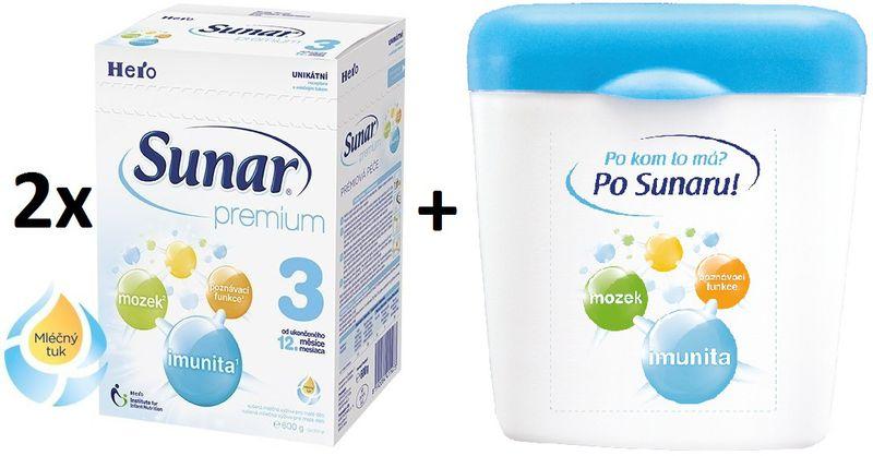 Sunar Premium 3 - 2 x 600g + Dóza na kojenecké mléko