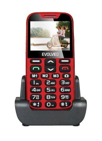 Evolveo EasyPhone XD z podstawką do ładowania, czerwony