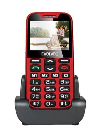 Evolveo EasyPhone XD, červená, nabíjecí stojánek - II. jakost