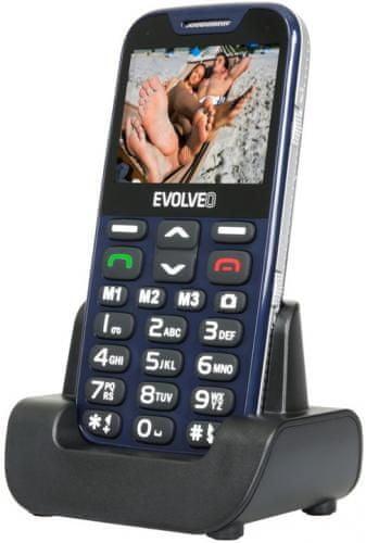 Evolveo EasyPhone XD, modrá, nabíjecí stojánek