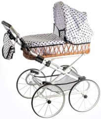 Teddies Wózek dla lalek Monika Retro, biały w kropki