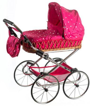 Teddies Wózek dla lalek Monika RETRO różowy w kropki