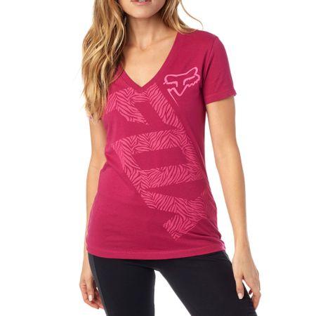 FOX T-shirt damski Angled V Neck Ss Tee S burgund