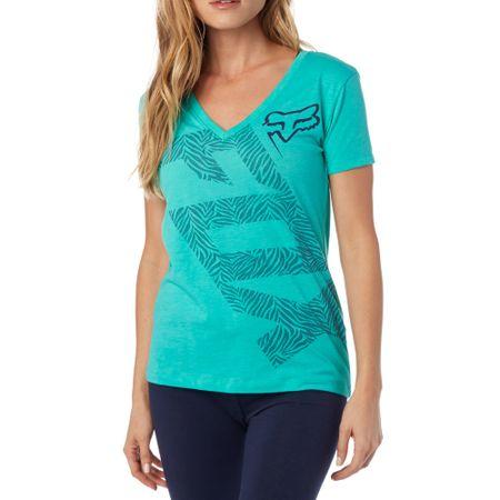 FOX ženska majica Angled V Neck Ss Tee L turkizna