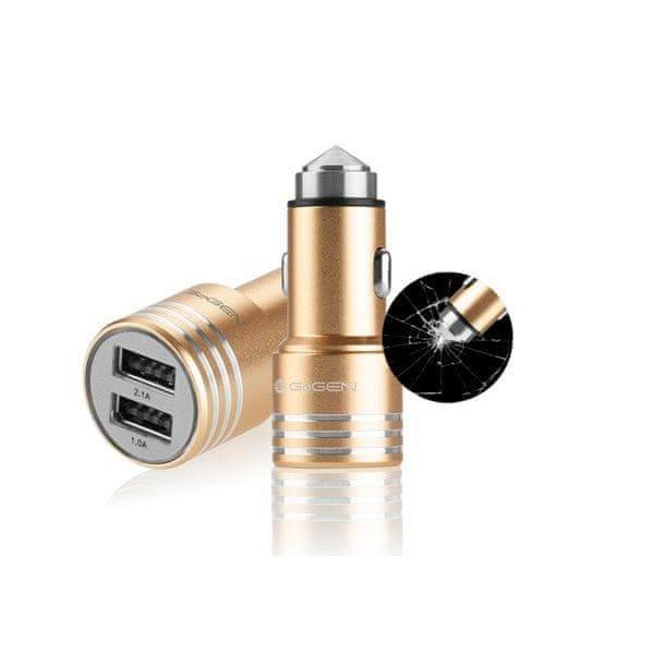 GoGEN Autonabíječka s kovovým bezpečnostním hrotem, 2 x USB, kov, zlatá