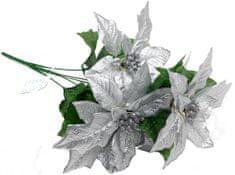 Seizis Poinsettia stříbrná 45 cm