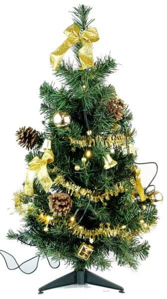 Seizis Stromek zdobený zlatý 60 cm s 10 LED