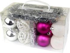 Seizis Set ozdob fialové, bílé, stříbrné 18 ks