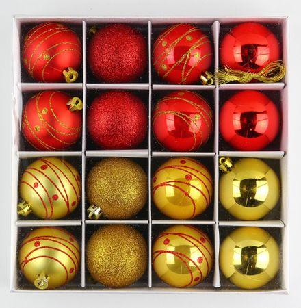 Seizis Set Karácsonyfadísz, 16 db, Piros/Arany