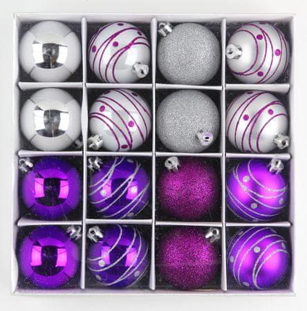 Seizis Gömb karácsonyfadísz, 16 db, Lila/Ezüst