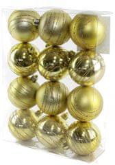 Seizis Gömb karácsonyfadísz, 12 db, Arany