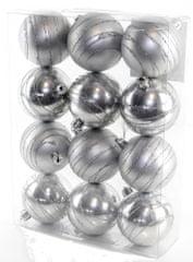 Seizis Gömb karácsonyfadísz, 12 db, Ezüst