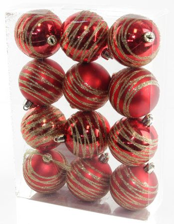 Seizis Gömb karácsonyfadísz, 12 db, Piros