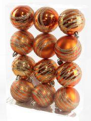 Seizis Gömb karácsonyfadísz, 12 db, Réz