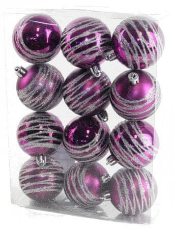 Seizis Gömb karácsonyfadísz, 12 db, Lila
