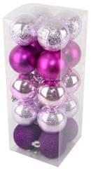 Seizis Set božičnih krogel roza-vijolična 20 kosov