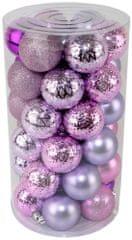 Seizis Set božičnih krogel roza-vijolična 41 kosov