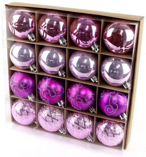 Seizis Set božičnih krogel roza-vijolična 16 kosov