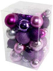 Seizis Set božičnih krogel roza-vijolična 47 kosov