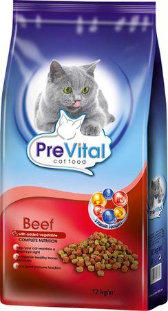 PreVital hrana za odrasle mačke, govedina in zelenjava, 12 kg