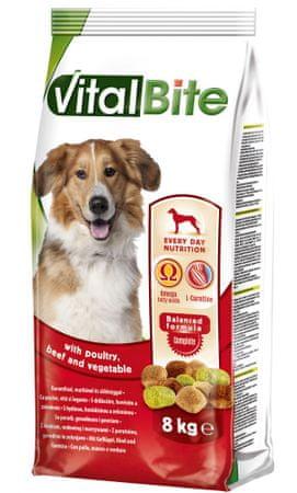 VitalBite Granulki dla psów z mięsem drobiowym, wołowym i warzywami 8 kg