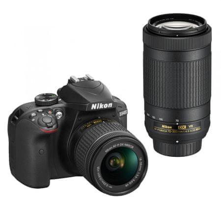 NIKON D3400 + AF-P 18-55 VR + 70-300 VR Fényképezőgép